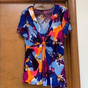 Daisy Fu enters multi colored neck blouse